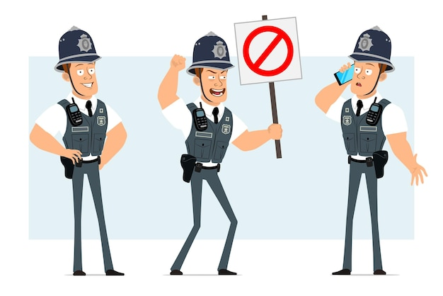 Cartoon plat grappige sterke politieagent karakter in kogelvrij vest met radio set. jongen praten over de telefoon en geen stopbord te houden.