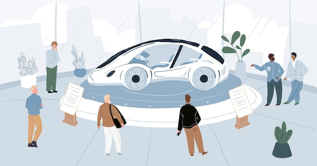Cartoon plat karakter seksremmers en bezoekers op auto motor show expo-conferentie