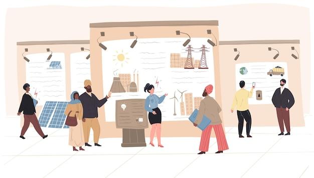 Cartoon plat karakter seksremmers en bezoekers op de expo-conferentie van de energie-industrie