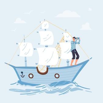 Cartoon plat karakter zeil op schip op zoek naar afstand van de boeg