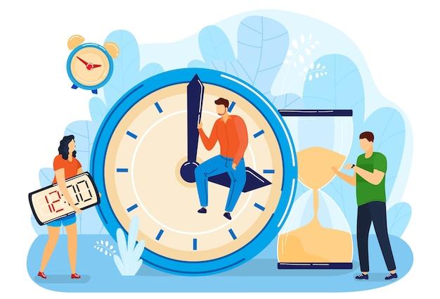 Cartoon plat klein manager karakter team werktijd beheren met wekker