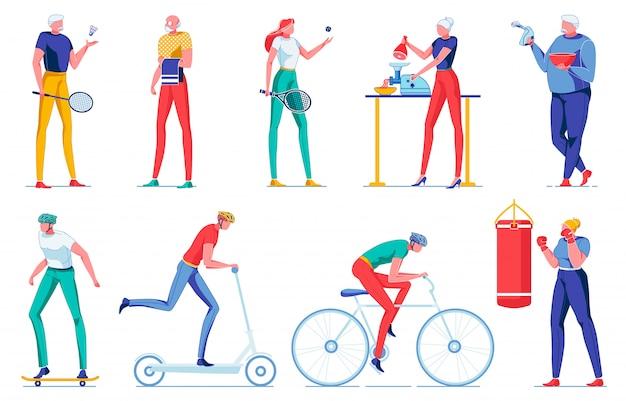 Cartoon plat oude man en jonge vrouw sport doen.