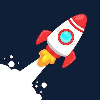 Cartoon plat ruimteschip dat de atmosfeer van de aarde met hoge snelheid uitwerpt.