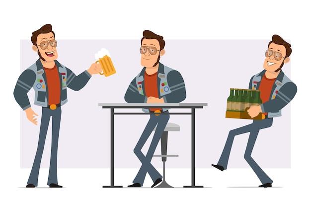 Cartoon plat sterke disco man in zonnebril en jeans jasje. jongen houdt van bierpul en draagtas met bierflesjes.