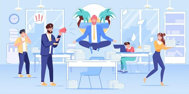Cartoon platte baas manager, kantoormedewerker karakters in werkconflictscène.