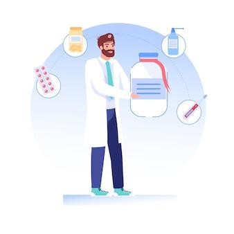 Cartoon platte dokter karakter aanbiedingen, presenteert medicijnen drugs
