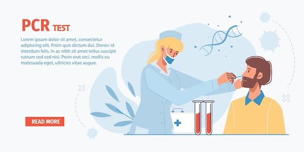 Cartoon platte dokter karakter op het werk pcr-test doen