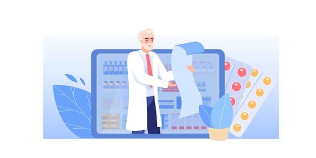 Cartoon platte dokter karakter op het werk