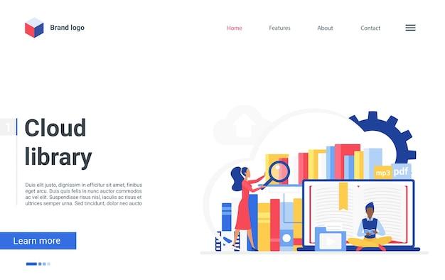 Cartoon platte kleine mensen die online boeken lezen en gegevensinformatie leren