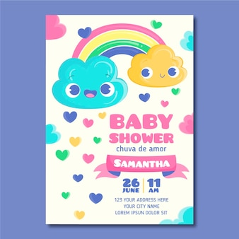Cartoon platte mooie chuva de amor baby shower uitnodiging