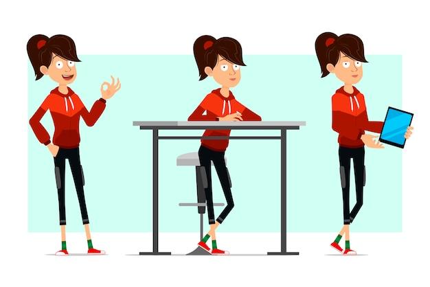 Cartoon platte sport meisje grote tekenset