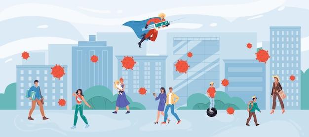 Cartoon platte superheld karakter vecht tegen coronavirus met vaccin