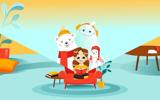 Cartoon platte vectorillustratie. schattig vrouwelijk kind zit op de bank leesboek over winteronderwerpen. sprookjesfiguren die in boek met meisje kijken. woonkamer rondom, achtergrond met kleurovergang.