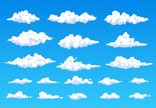Cartoon pluizige witte wolken in blauwe lucht cloudspace