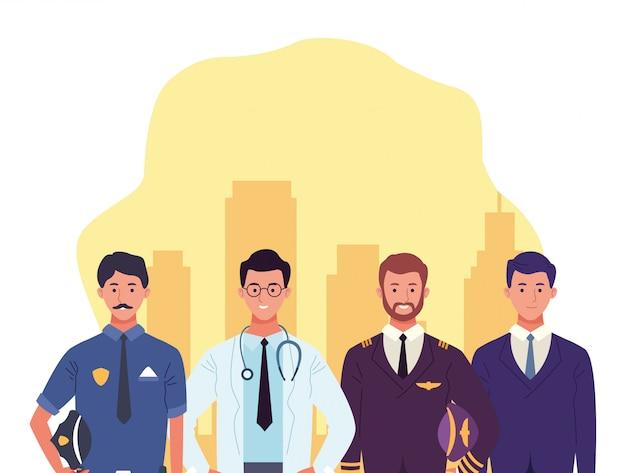 Cartoon politie man met arts man, piloot en zakenman