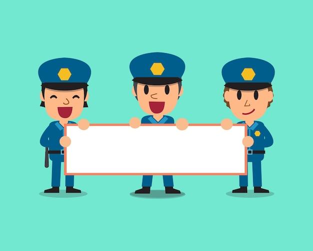 Cartoon politieagenten bord houden voor presentatie