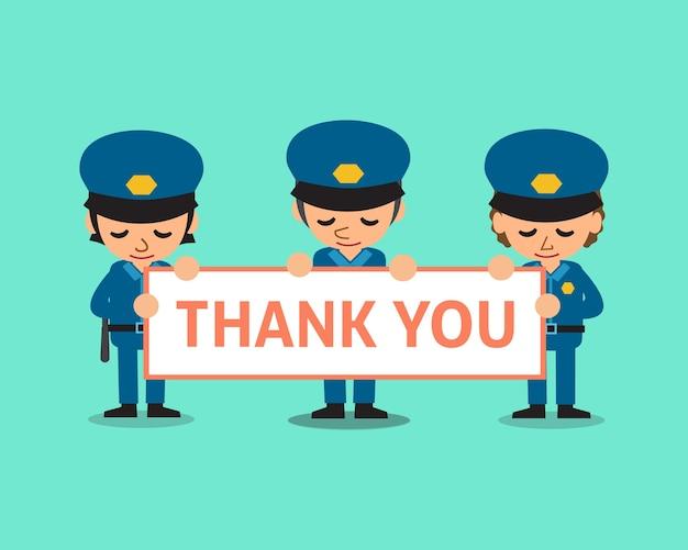 Cartoon politieagenten houden dank u ondertekenen