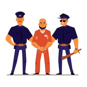 Cartoon politieagenten houden geboeid crimineel in oranje gevangenis uniform