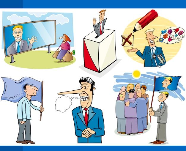 Cartoon politiek concepten instellen