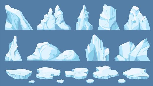 Cartoon poolijs. ijsbergen, blauwe ijsschotsen en ijskristallen