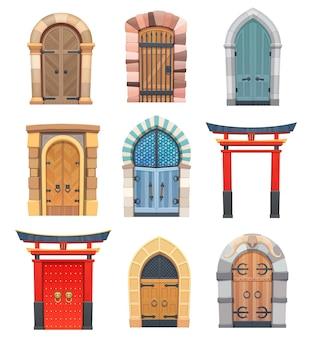 Cartoon poorten en deuren houten en stenen middeleeuwse aziatische