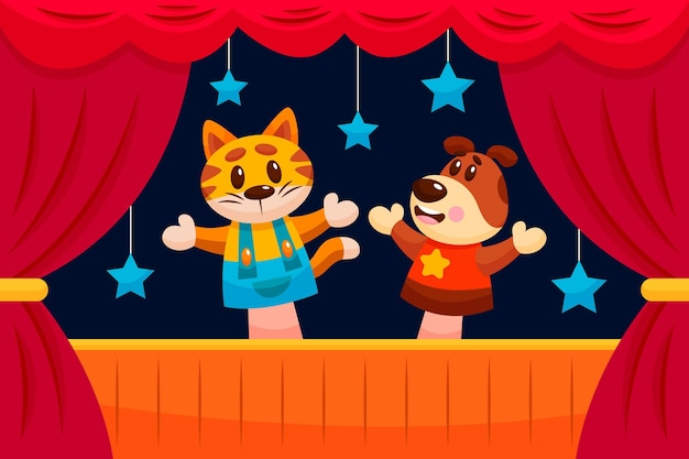 Cartoon poppenspel achtergrond