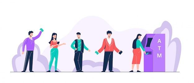 Cartoon positieve mensen staan in de rij voor atm vlakke afbeelding