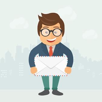 Cartoon postbode bedrijf envelop