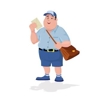 Cartoon postbode bedrijf post en tas