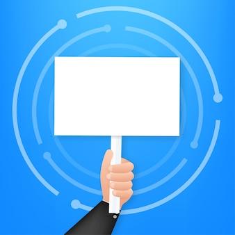 Cartoon poster met hand met plakkaat voor banner ontwerp. banner, billboard-ontwerp. vector voorraad illustratie.