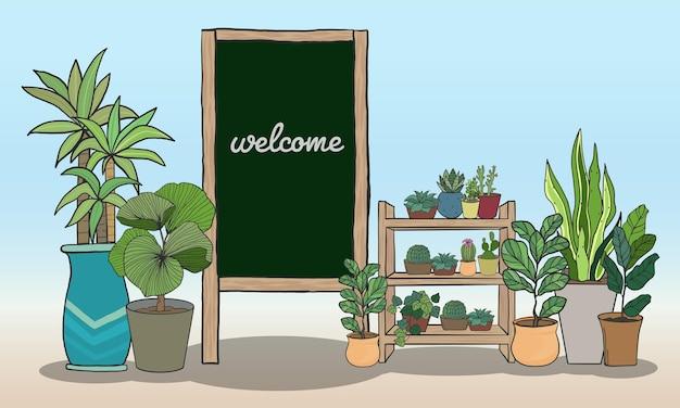 Cartoon potplanten set met zwart bord voor het schrijven van berichten