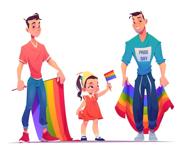 Cartoon pride-dag familie collectie