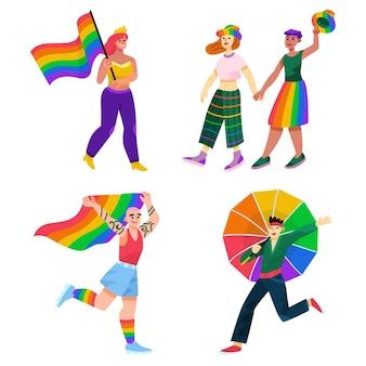 Cartoon pride-dag mensen collectie