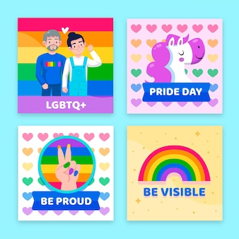 Cartoon pride day instagram posts-collectie