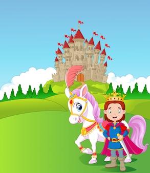 Cartoon prins en koninklijk paard