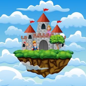 Cartoon prins en prinses vooraan een kasteel op de wolk