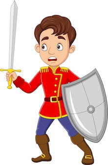 Cartoon prins met zwaard en schild