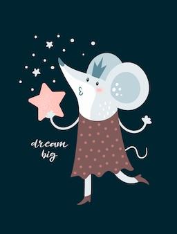 Cartoon prinses muis in kroon en met grote ster