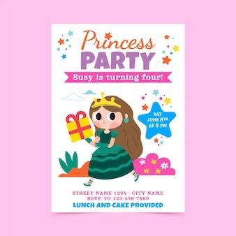 Cartoon prinses verjaardag uitnodiging sjabloon