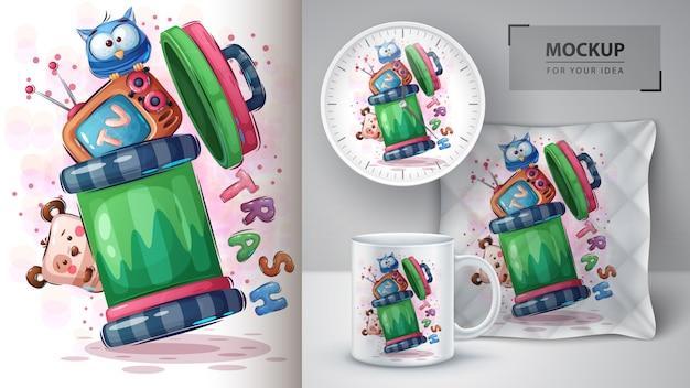 Cartoon prullenbak poster en peluche merchandising