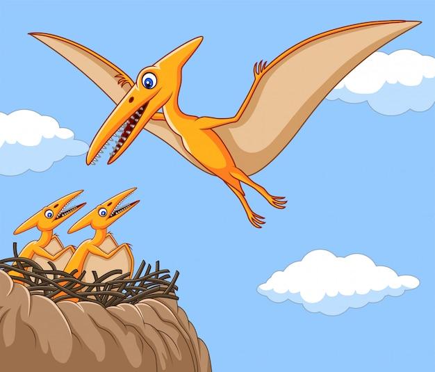 Cartoon pterodactyl met haar baby