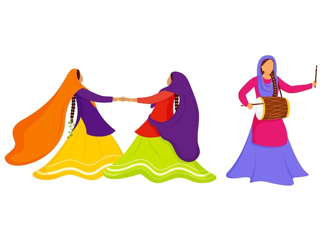 Cartoon punjabi vrouwen genieten of vieren met dhol-instrument op witte achtergrond.