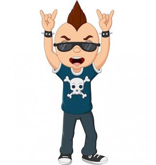 Cartoon punk jongen met mohawk en zonnebril