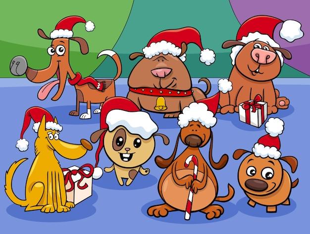 Cartoon puppies tekens groep op kersttijd