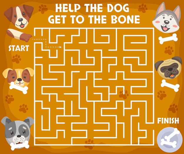 Cartoon puppy's en honden, doolhofspel voor kinderen. vectorbordspel met schattige puppykoppen en poten. help de hond om tot op het bot raadsel te komen voor de aandachtsactiviteit van kinderen. werkblad voor ontwikkeling van de geest