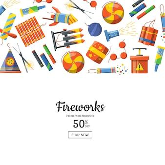 Cartoon pyrotechniek achtergrond illustratie met plaats voor tekst