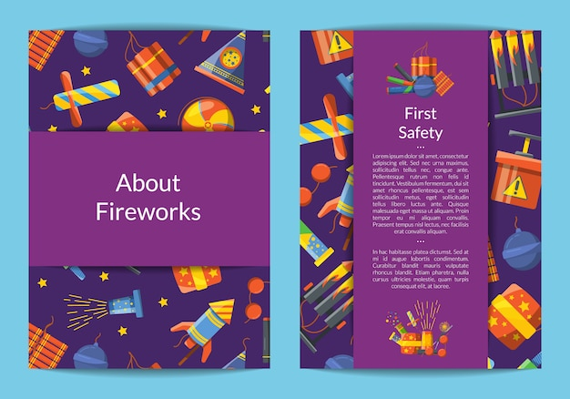 Cartoon pyrotechniek kaart, flyer-sjabloon voor zakelijke illustratie