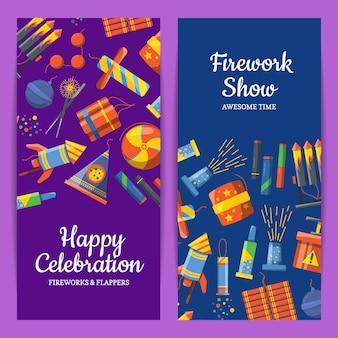 Cartoon pyrotechniek verticale flyer sjablonen voor feest, vuurwerkshow of pyrotehcnics bedrijf