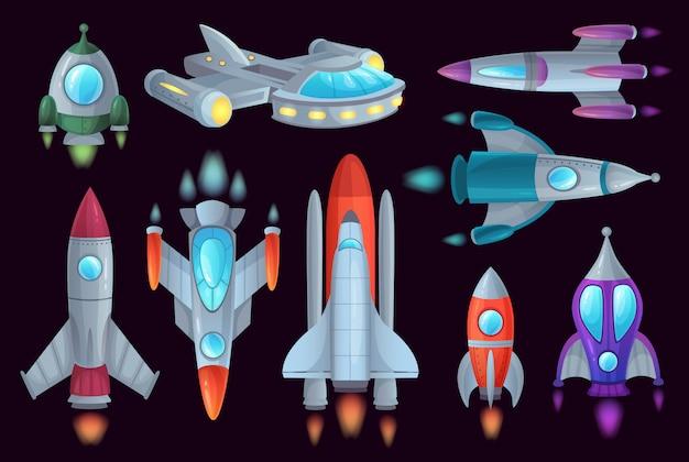 Cartoon raketten. ruimterakschip, ruimtevaartraket en ruimtevaartuigschip geïsoleerde illustratiereeks