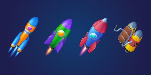 Cartoon raketten shuttles en jetpack